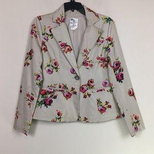 Anthropologie Tulle floral 2 button blazer